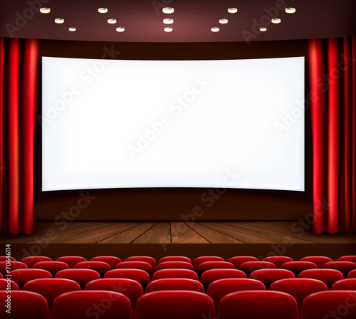 Cinema with white screen, curtain and seats. Vector. - 70646114