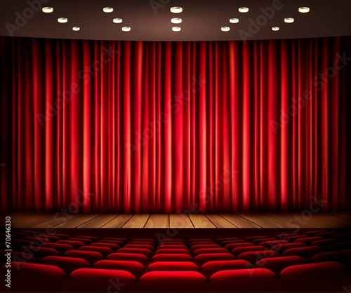 Cinema or theater scene with a curtain. Vector. - 70646330