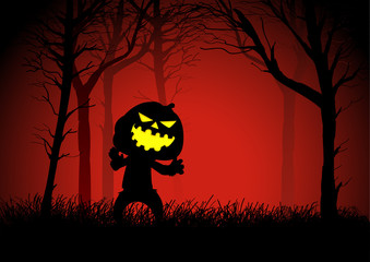 Pumpkin ghost in woods, for Halloween theme