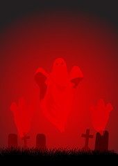 Cartoon illustration of ghosts on cemetery