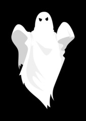 Cartoon illustration of a ghost on black background