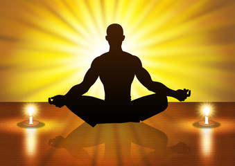 Silhouette illustration of a male figure meditating