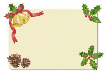 水彩イラストのクリスマスカード