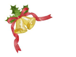 クリスマスベル・赤いリボン・ひいらぎの水彩イラスト素材