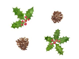 クリスマス 水彩イラスト素材 ひいらぎと松ぼっくり