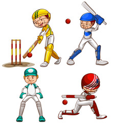 Simple sketches of men playing cricket