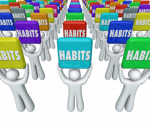 People Holding Habits Words Successful Routines Achieve Goals