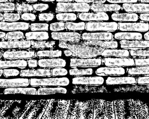Old brick wall. Hand drawn, sketch