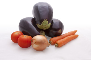 Aubergines, Carrots, Tomatoes And Onion