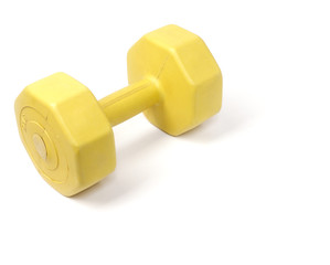 Yellow plastic coated dumbell isolated on white