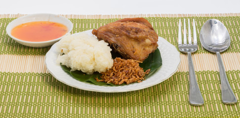 Fried Chicken with onion and Sticky rice