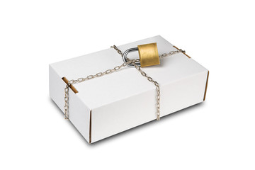 Box with chain and lock