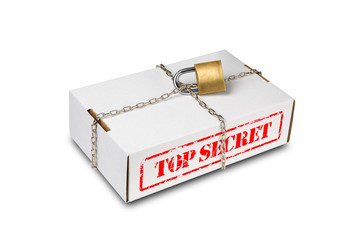 Box with chain and lock with top secret content