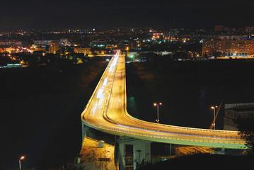 Метромост в Нижнем Новгороде и вид на Заречную часть ночью