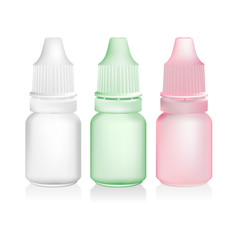 green pink eye drop bottle isolate on white background