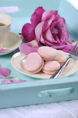 Stylish, elegant, shabby chic style afternoon tea with macarons