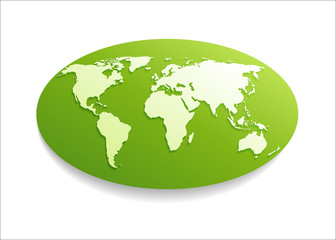White Paper world map on green oval shape
