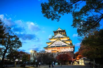 Osaka Castle in Osaka, Japan during a colorful pastel summer sun