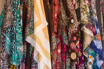 Sales of various fabric. Background.