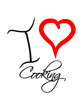 I Love Cooking Heart Text Logo