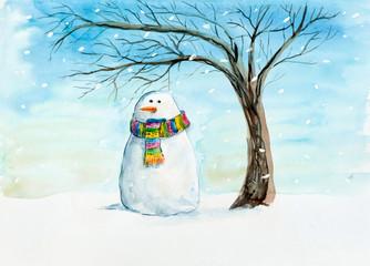 Sad snowman under a tree. Snow falls.
