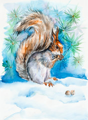 The squirrel gnaws notelets. New Year's and Christmas motive