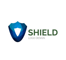 Secure shield logo design made of color pieces
