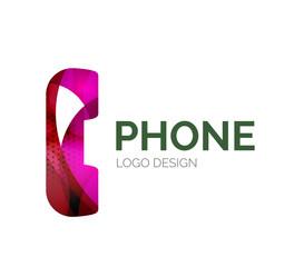 Retro phone logo design made of color pieces