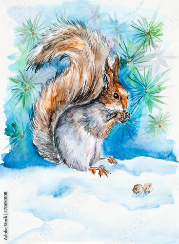 canvas print picture The squirrel gnaws notelets. New Year's and Christmas motive