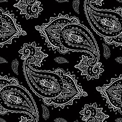 Elegant Paisley pattern. Hand Drawn Seamless background.