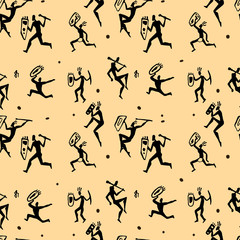 African hunters. Seamless vector pattern.