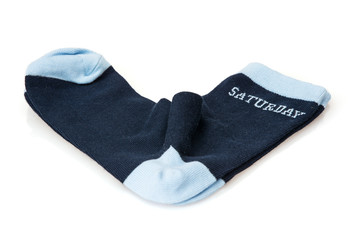 Isolated wool socks with inscription SATURDAY