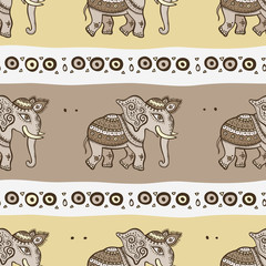 Elephants. Ethnic seamless background.