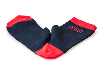 Isolated wool socks with inscription FRIDAY