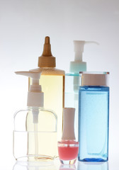 Set of bottles of body care and beauty products
