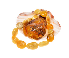 Amber bead  in a nacre seashell isolated over white
