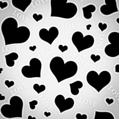 Black hearts and LOVE wording.