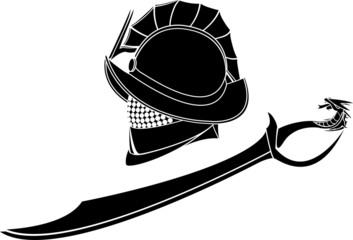 gladiators helmet and sword