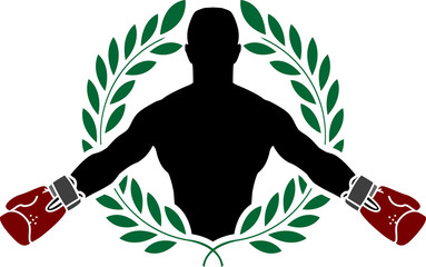 boxer and laurel wreath