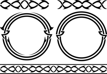 set of patterns and rings. stencils