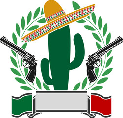 the mexican cactus and two pistols and laurel wreath