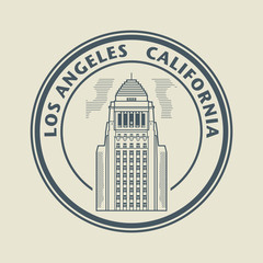 Stamp with text Los Angeles, California inside, vector