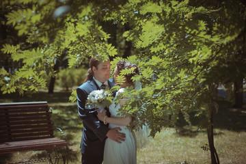 Happy Bride Embracing Groom