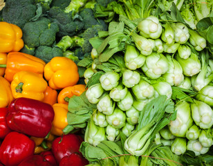 Vegetables in Asian market close up