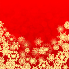 Christmas and New Year's background with gold snowflakes and pla