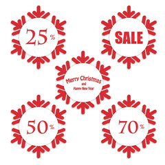 Christmas and New Year labels in the shape snowflakes for sale i