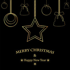 Christmas and New Year background with golden Christmas decorati