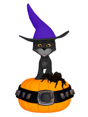 halloween witches black cat