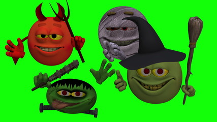 Goofy Monster Smiley Guys (Green Screen)