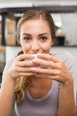 Pretty blonde enjoying a coffee